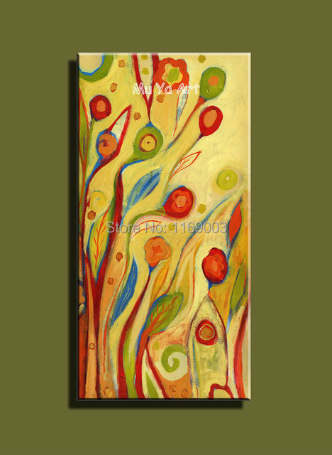 Large Abstract modern canvas wall art tree cheap huge vertical oil ...