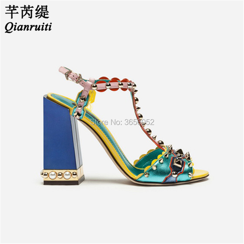 7e87d2bd5dd Detail Feedback Questions about Qianruiti Brand New Luxury T strap Pearl  Studded Sandles Open Toe Party Wedding Shoes Summer Runway Ladies Sandals  Block ...