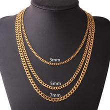 Hot Sale 316L Stainless Steel Chains Necklace for Men Silver Gold Mens Curb Cuban Jewelry Gifts 3/5/7mm