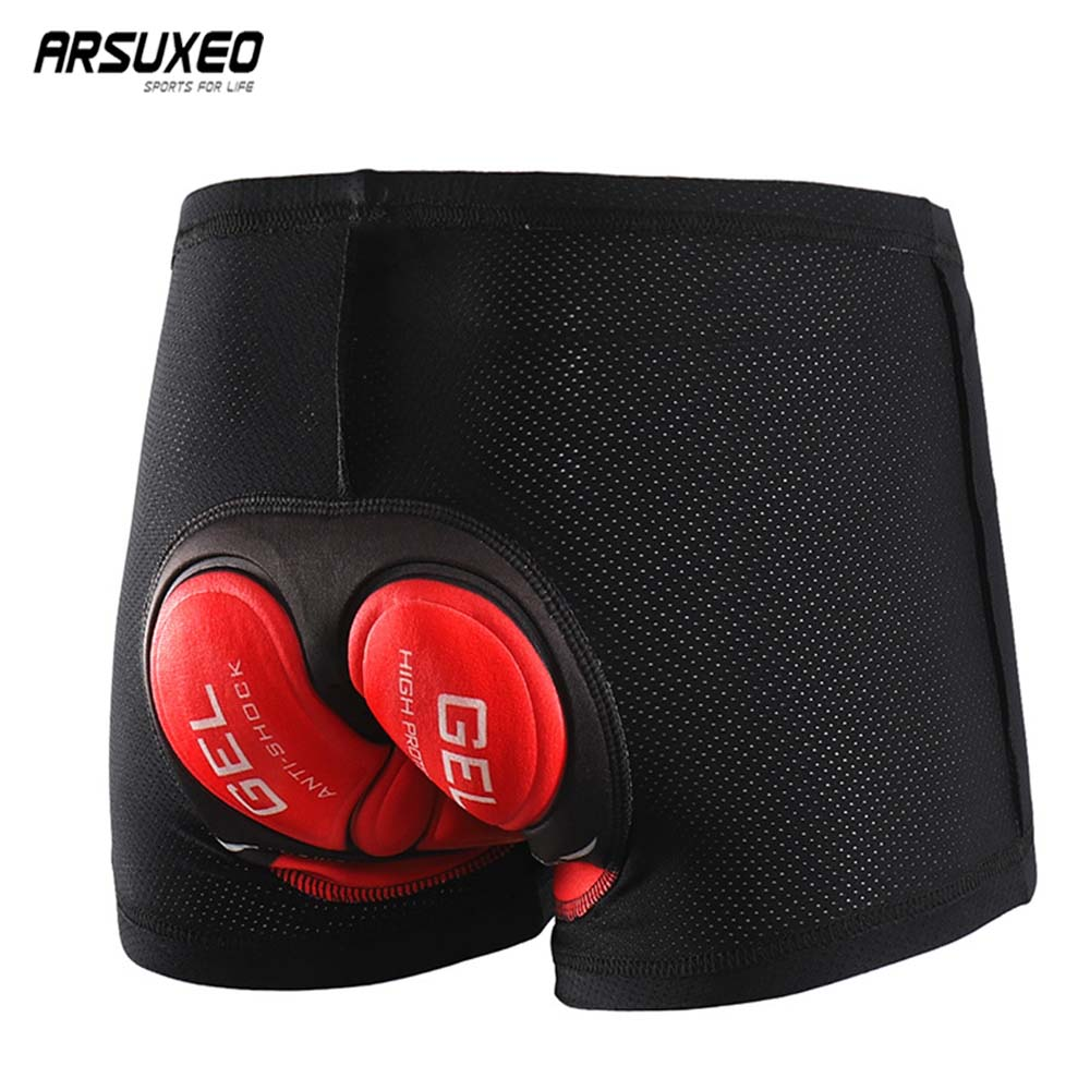 ARSUXEO Men Women Cycling Underwear 3D Gel Pad Cycling Shorts Quick Dry Bicycle Underwear MTB Mountain Bike Shorts Breathable