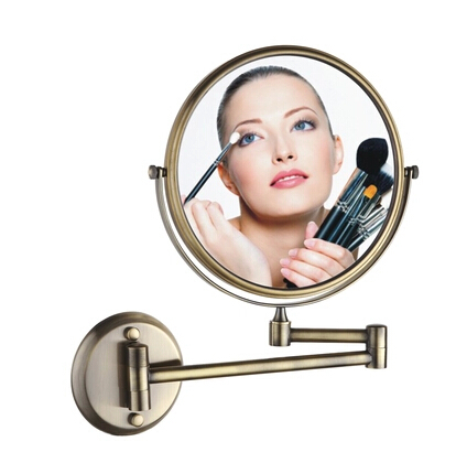 BECOLA antique beauty mirror European style luxury telescopic mirror Double bathroom mirror The bathroom wall magnifier