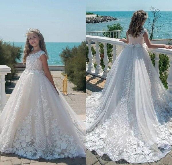2019 для девочек в цветочек платья Роскошные платье для первого причастия бальное платье кружевное праздничное платье для девочки платье fille