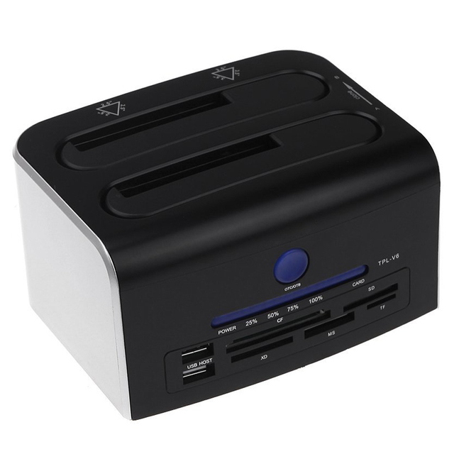 "CAA-2.5"" 3.5"" Dual SATA USB 3.0 HDD Dock Docking Station USB 2.0 Hub CF SD XD MS TF Card Reader US Plug"