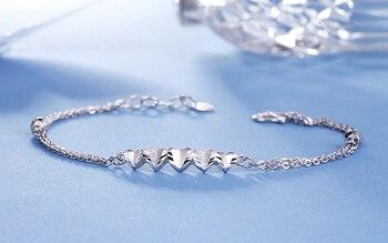 Romantic PT950 Platinum White Real Solid Gold Heart Bead Bracelets Bangles for Women Girl Female Fine Wedding Jewelry Gift 2