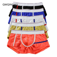5PCS/Lot Brand Male Underwear Bright Silky Men Underwear Cueca Boxer Short Calzoncillos Hombre Underpants Underwear Men Boxers