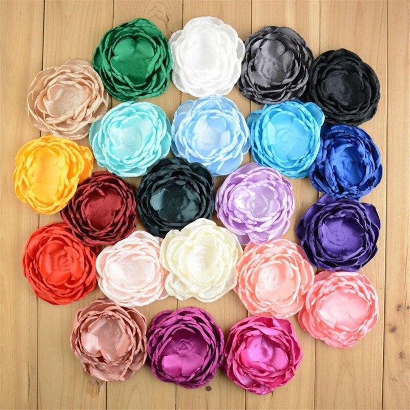 Фото 22pcs/lot 4 Inch Large Multilayer Burned Satin Rose Hair Flowers DIY Brooch Garment Accessories 22 Color U Pick MH89