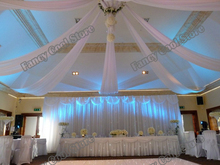 12pcs 0.45m*10m White Luxury Wedding Roof Drape Fabric Canopy Drapery For  Wedding Fabric Decoration Party Venue Decor