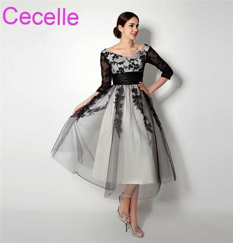 ... Vintage Tea Length Black Short Wedding Dresses 2019 With 3 4 Sleeves  Lace Tulle Informal ... 5c6766fb205c