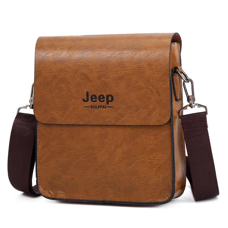 New JEEP BULUO Fashion Business Men s Crossbody Bag PU Leather Shoulder Bag  Briefcase for Men Jeep 2a1beedf7bca1