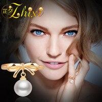 ZHIXI Изысканные жемчужные украшения 18 К Золотое кольцо для свадебного кольца Akoya жемчужные кольца К 18 К Золотое обручальное кольцо женские