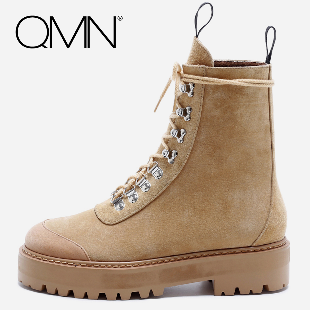 QMN women genuine leather ankle boots for Women Pig Suede Work Boots Shoes Woman Platform Martin Boots Botas Size 34-40 qmn women crystal embellished natural suede brogue shoes women square toe platform oxfords shoes woman genuine leather flats