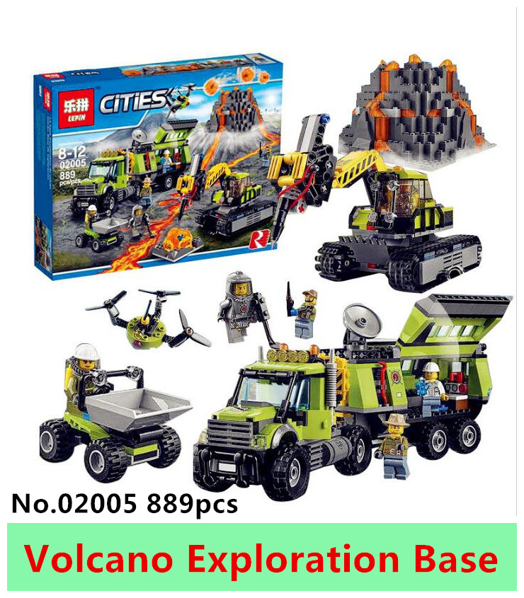New LEPIN 02005 889Pcs City series Volcanic expedition base Model Building blocks Bricks Compatible 60124 Toy for Gift model building blocks kits compatible with lego city 60123 lepin 02004 helicopter volcanic expedition brick model building toys