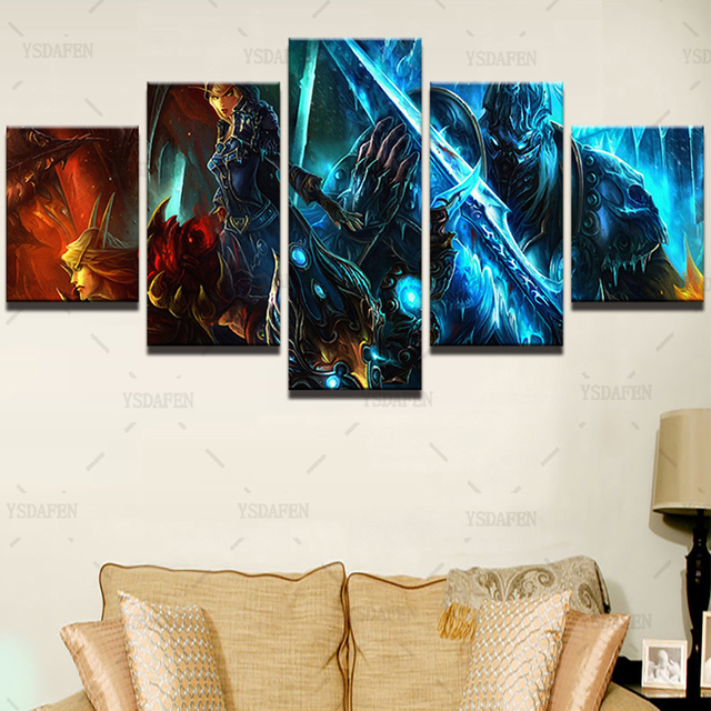 Wall Art Canvas Paintings Living Room Decor 5 Pieces World Of Warcraft Pictures HD Printed Framed Game Warrior Soldiers Posters 1