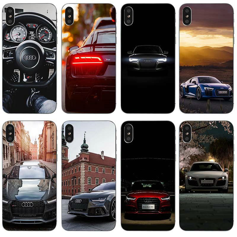 8a83a0bfdc1 Soft Clear TPU Silicone Mobile Phone Cases For iphone 4 4s 5 5s se 6 6s  plus 7 7plus 8 8plus Case Hot Audi Car RS Logo Pattern