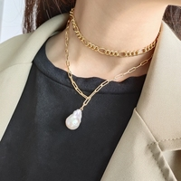 New Design Handmade 925 Sterling Silver Irregular Nature Baroque Pearl Necklace With Gold Anchor Chain Women Necklaces Wholesale