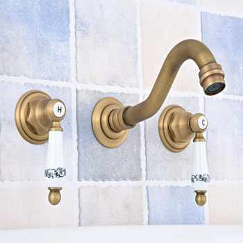 Antique Brass Widespread Wall-Mounted Tub 3 Holes Dual Ceramic Handles Kitchen Bathroom Tub Sink Basin Faucet Mixer Tap asf530 - DISCOUNT ITEM  38 OFF All Category