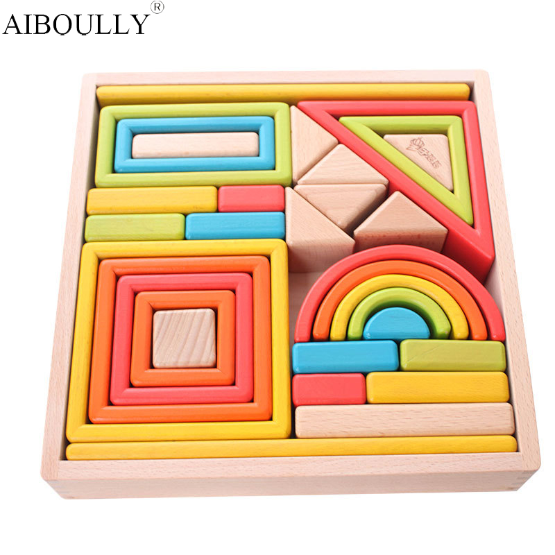 ФОТО Rainbow building blocks imported beech chunk of solid wooden baby children's educational ideas present for children's toys