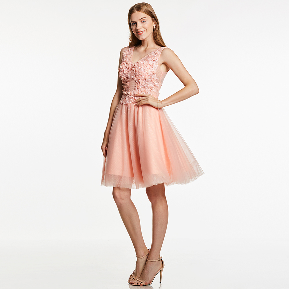 Dressv appliques cocktail dress pink v neck sleeveless knee length a line beading gown lady homecoming short cocktail dresses