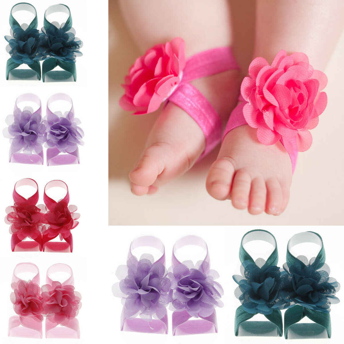 2019 nuevo 1 pares bebé niñas Rhinestone Flor de muñeca pie banda sandalias descalzo zapatos foto Prop Accesorios