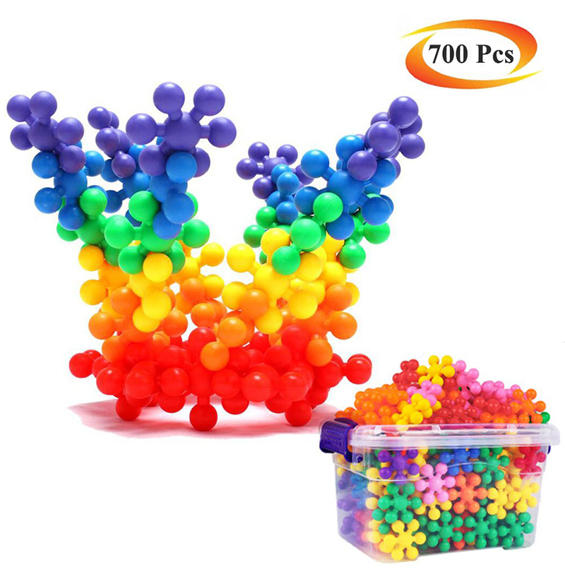 100/220/480/700 Pcs Plum Blossom Snowflake Large Plastic PE Building Blocks Boys And Girls Children 3-5-6 Educational Toys