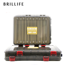 BRILLIFE 1set Fishing Lure Box Double Sided 10 and 14 Compartments Multifunction Fishing Lure Box Fishing Tackle Box