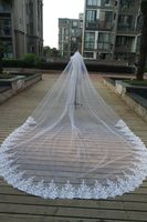 SHAMAI one layer lace edge Long 2 metre * 3 metre length bridal veils Cathedral length wedding veil bridal accessories