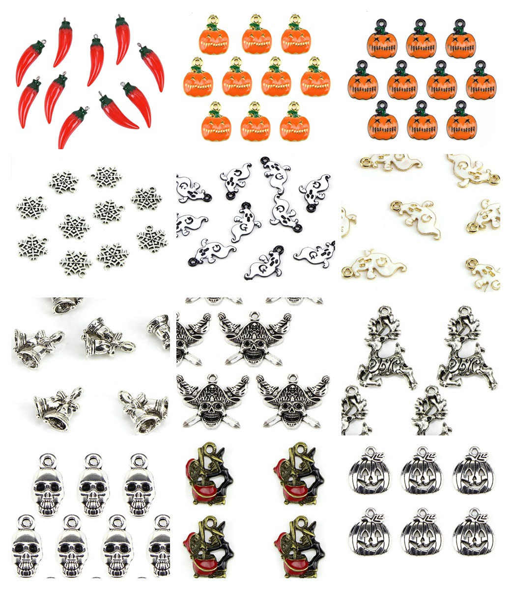 10Pcs/lot Cute Antique Halloween Charms Pumpkin Pepper Ghost  Bell Charms  Pendant Necklace Bracelet Jewelry Accessory