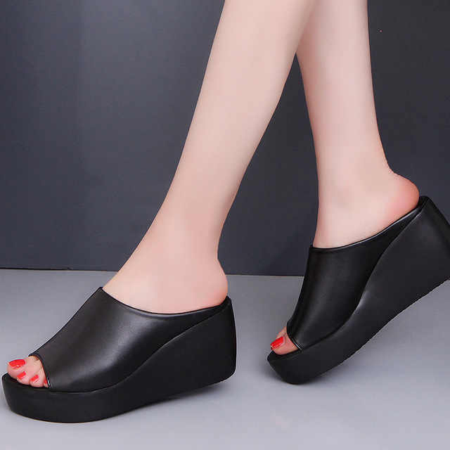 Ake Sia Mode Zomer Vrouwen Casual Muilezels Babouche Peep-Toe Slides Strand Rubber Loafer Hoge Hak Wig Slippers Muilezels schoenen A153
