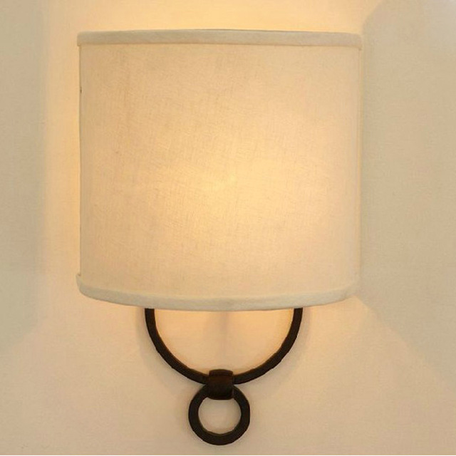Romantic Bedside/Foyer/Living Room Sconce E14 Wall Lamp Fabric&Iron ...