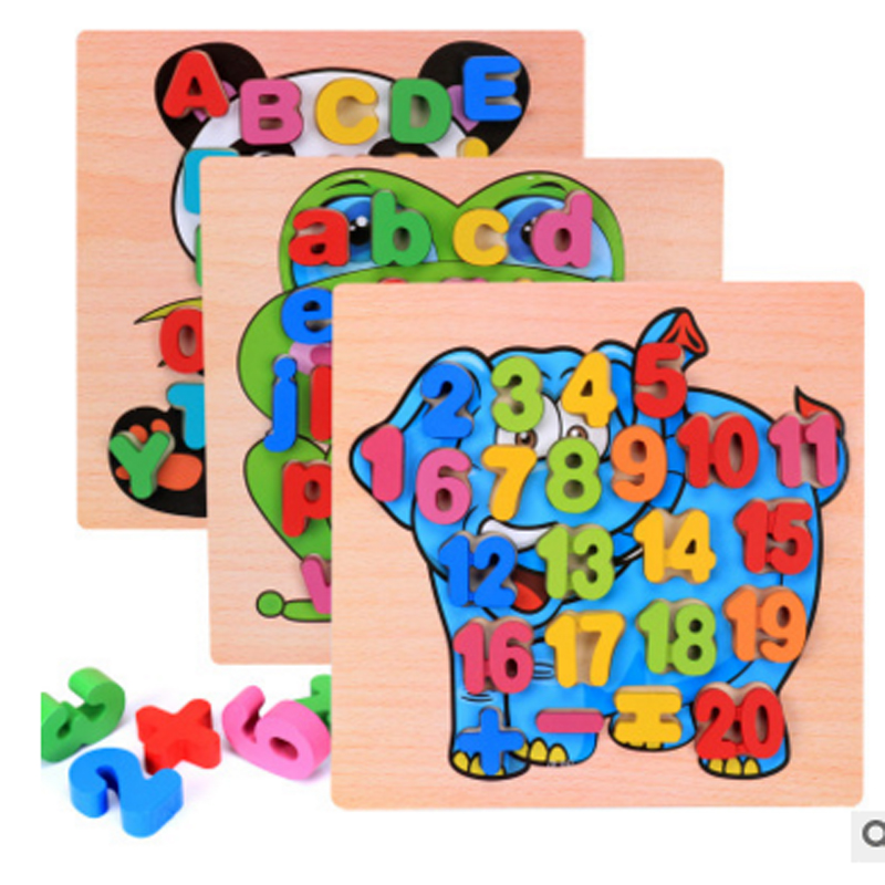 2017 new design wooden block baby kids wooden board learning letter educational toy cartoon animal digital