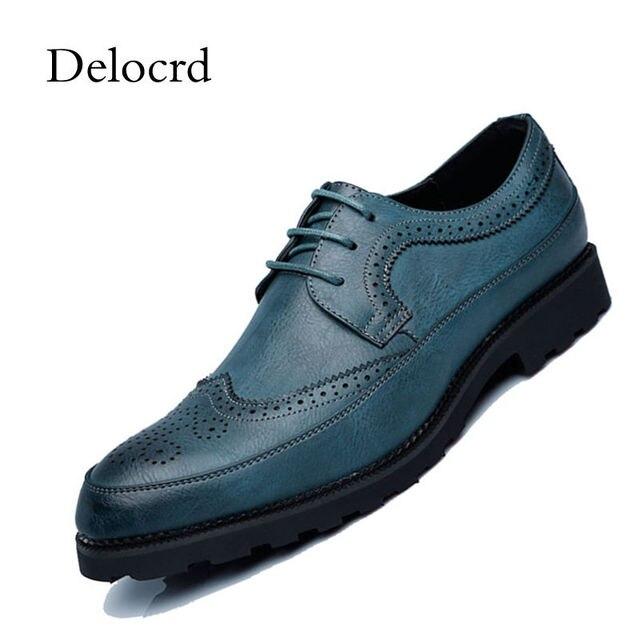 46f2eb2f88 Cuero del estilo de Inglaterra hombres Brogues zapatos Vintage Lace-Up  Bullock negocios hombres vestido
