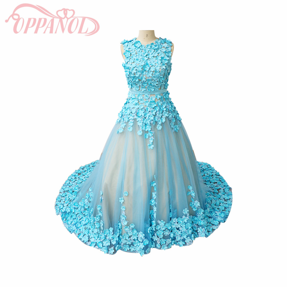 2017 latest light blue illusion applique 3d flowers royal for Wedding dresses with royal length train