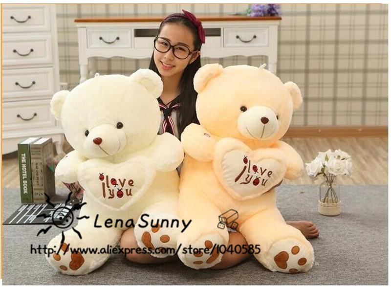 110cm Huge Bear Stuffed Plush Toy,Holding LOVE Heart Big Plush Teddy Bear Soft Gift ,Valentine Day Birthday Girls' Brinquedos 150cm bear big plush toys giant teddy bear large soft toy stuffed bear white bear i love you valentine day birthday gift