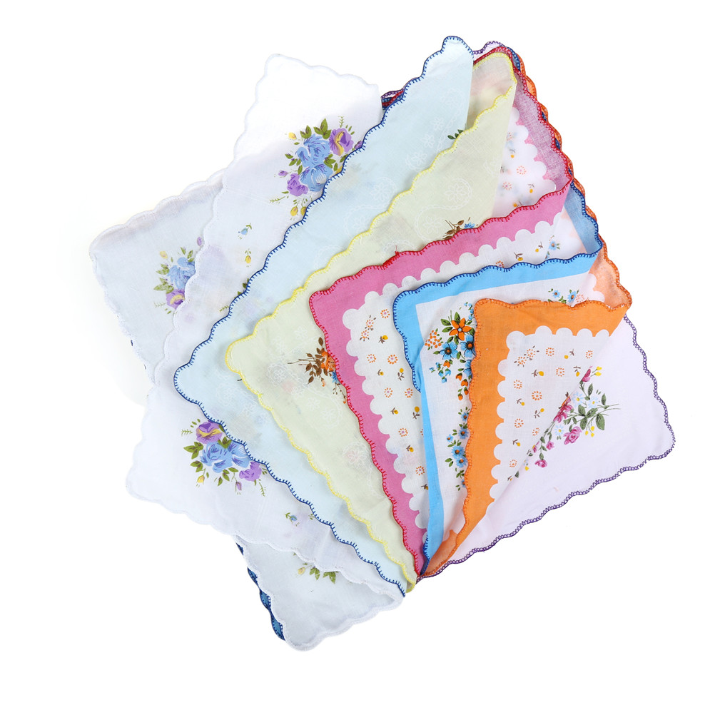 10pcs Delicate Vintage Pretty Floral Flowers Handkerchief Lady Women Kids Cotton Hanky(China)
