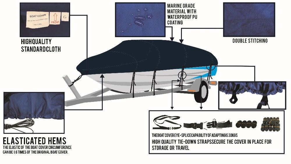 """600D PU покрытие сверхмощный Trailerable крышка лодки, 12'-14'X6"""", классические аксессуары, высокое качество водонепроницаемый, УФ анти, морской класс"""