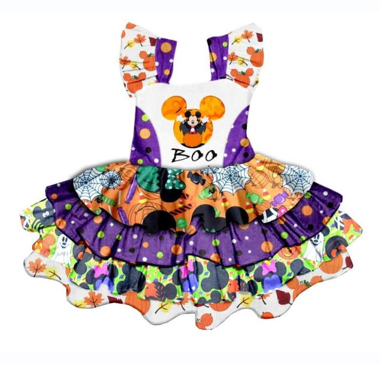 Halloween Purple Yellow Folded Side Girls Rotating dress  Design Boutique Pattern Design