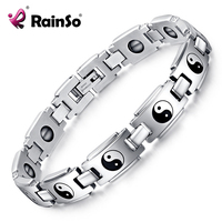 Healing Magnetic Bracelet Men 316L Stainless Steel Health Care Elements Germanium Silver Religious Bagua Bracelet Hand