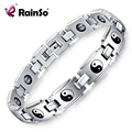 Healing Magnetic Bracelet Men 316L Stainless Steel Health Care Elements Germanium Silver Religious Bagua Bracelet Hand Chain