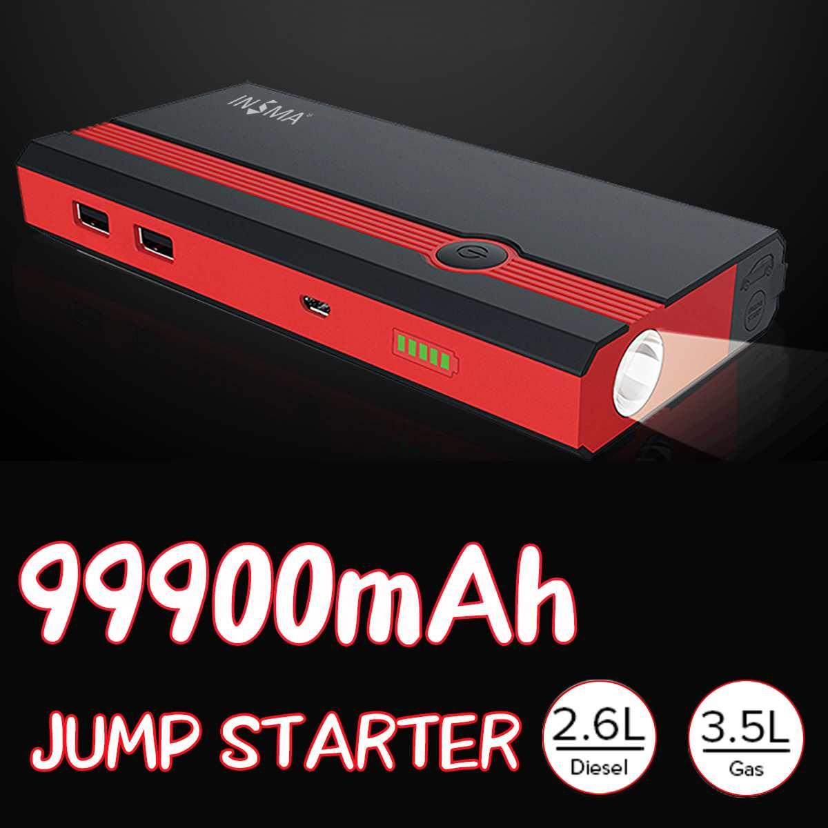 99900 мАч многофункциональный автомобильный стартер Power Bank 12V 400A USB портативный аварийный Автомобильный Аккумулятор Booster пусковое устройство