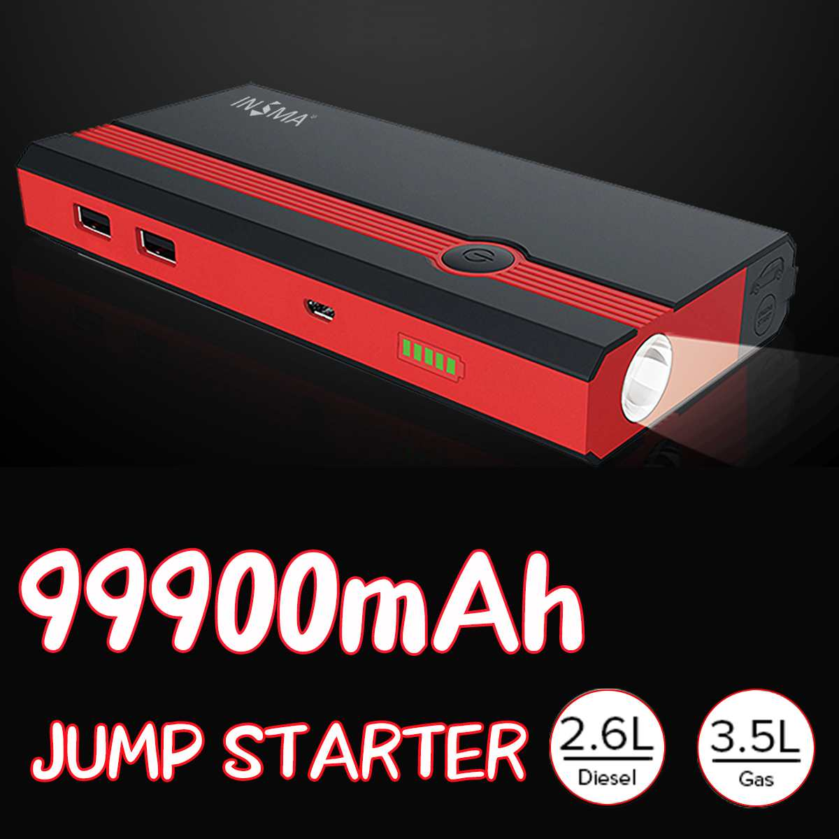 99900mAh Multifunction Car Jump Starter Power Bank 12V 400A USB Portable Emergency Car Battery Booster Starting Device
