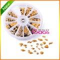 Novo 2014 12 projetos 300 pcs/roda diferentes formas metálicas studs cor dourada 3D decorações da arte do prego