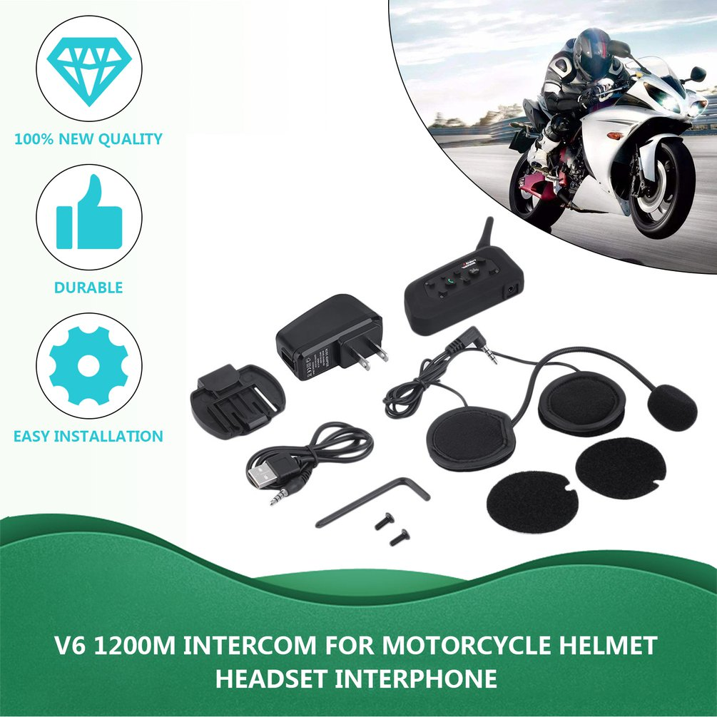 New V6 Helmet Intercom 6 Riders 1200M Motorcycle Intercom Headset Walkie Talkie Helmet BT Interphone Plug