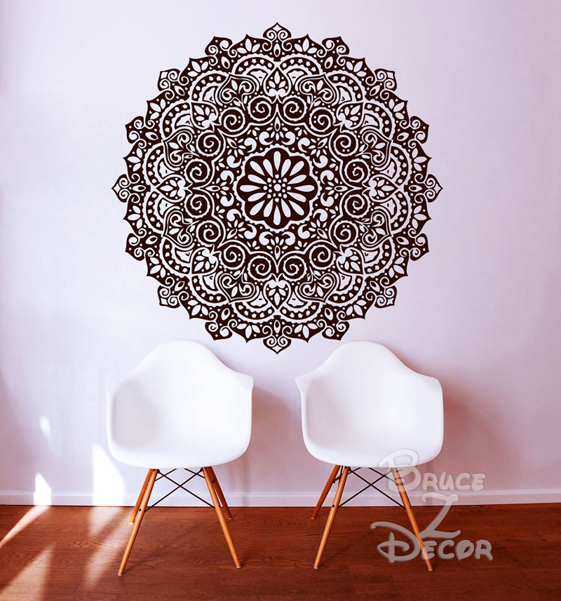2016 mandala mehndi wall sticker diy large wall stickers home decor indian hindu buddha wall decals
