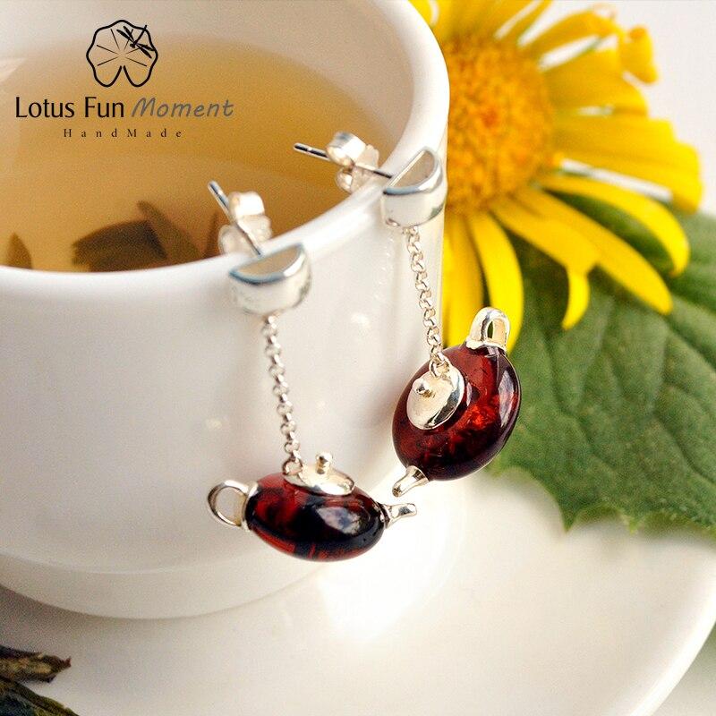 Takı ve Aksesuarları'ten Damla Küpeler'de Lotus eğlenceli Moment gerçek 925 ayar gümüş doğal taş el yapımı moda takı sevimli çaydanlık Dangle küpe kadınlar için Bijoux'da  Grup 1