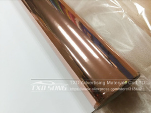 Image 3 - 50CM*1M/2M/3M/4M/5M Roll Car styling High stretchable Mirror rose gold Chrome Mirror Vinyl Wrap Sheet Roll Film Car Sticker