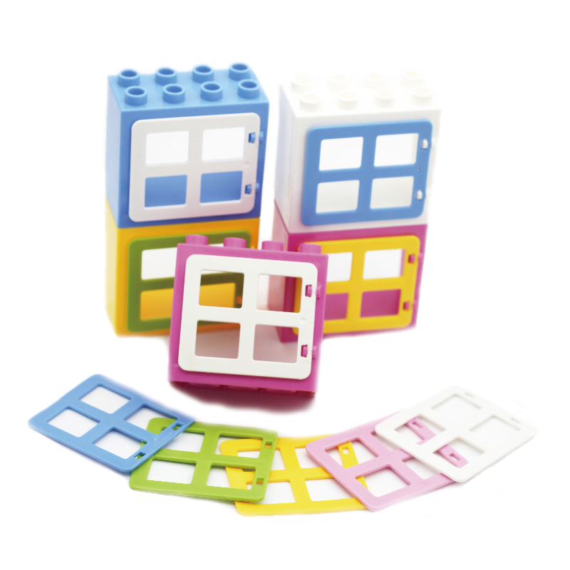 House Big Particles Building Blocks Basics accessory Movable Window door Set Bricks Kids DIY Assemble Toys Compatible with Duplo