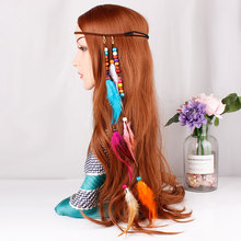 Korean velvet rope hand woven hair with Bohemia travel peacock feather circle ornaments