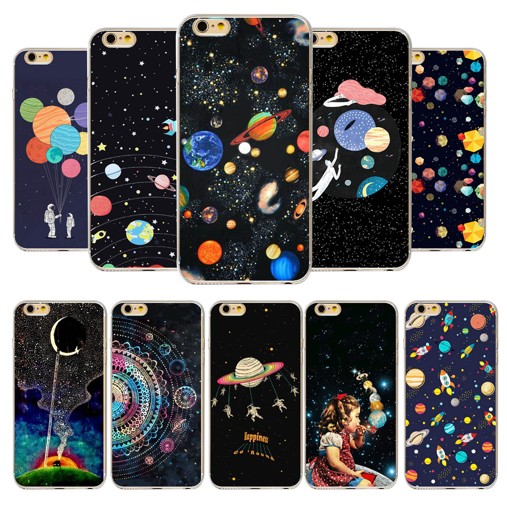 Phone Cases For iPhone 5 5s SE 5C 6 6s 6P 6SPlus 4 4s Airship Astronaut Star Universe 20Patterns TPU Ultra thin Cell Phone Cover