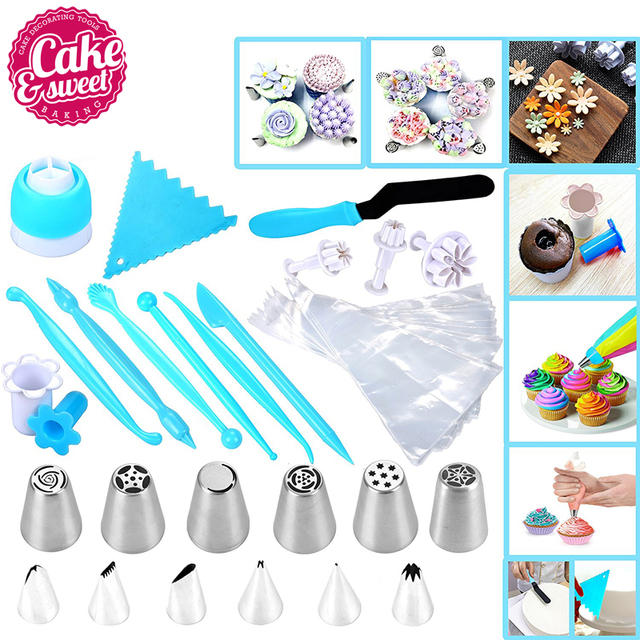 52Pcs Cake Icing and Decorating Kit Including 12 Stainless Steel Icing tips, 26 Disposable Decorating Bags, Tri Color Coupler...