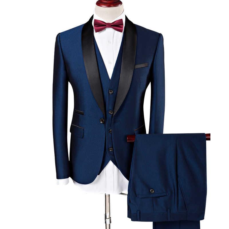 (ジャケット + ベスト + パンツ) 男性スーツ 2019 結婚式のスーツショールカラー 3 枚スリムフィットブルゴーニュスーツメンズロイヤルブルータキシードジャケット